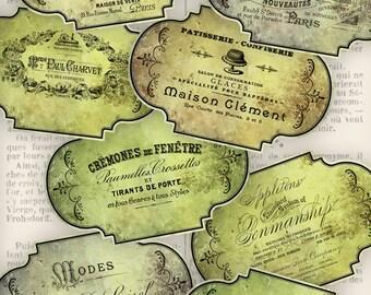 Vintage Typography Labels Tags printable paper craft art hobby crafting scrapbooking instant download digital collage sheet - VDLAVI0842