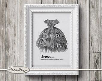 Vintage Dress printable art black and white print dictionary digital print iron on printable instant download digital collage sheet - VD0650