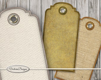 Fabric Tags printable tags paper crafting shabby scrapbooking hobby crafting instant download digital collage sheet - VDTAVI1566