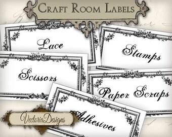 Craft Room Organization Labels Craft Room Labels printable instant download digital collage sheet 000405