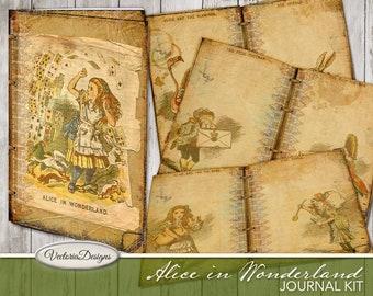 Alice In Wonderland Junk Journal, Printable Journal Kit, Digital Journal Kit, Alice In Wonderland Paper, Instant Download, Journals  001972