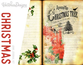 Christmas Junk Journal Kit, Christmas Printables, Christmas Decoration, Christmas Themes, Christmas Gift, Digital Journal Kit 001882