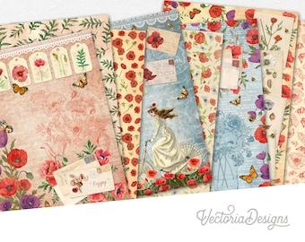 Pretty Poppies Paper Pack, Flower Paper Pack, Printable Paper Pack, Poppy Flowers Digital Paper Pack, Poppy Flowers Ephemera 002184
