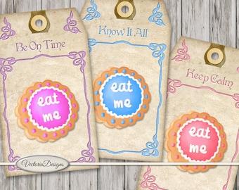 Alice in Wonderland Eat Me Cookie Tags Printable paper crafting scrapbooking digital download instant digital sheet S3I1 - VDTAAL1623