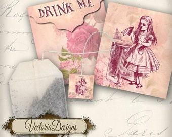 Printable Alice in Wonderland Tea Bag Holder envelope tag instant download digital collage sheet VD0082