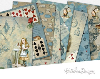 Alice In Wonderland Paper Pack, Printable Paper Pack, Digital Paper Pack, Mad Hatter Paper, Cheshire Cat, White Rabbit, DIY Paper  002070
