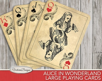 Large Alice In Wonderland Playing Cards, Alice In Wonderland Decor, Printable Cards, Digital Cards, Wonderland Art, Digital Prints  000603