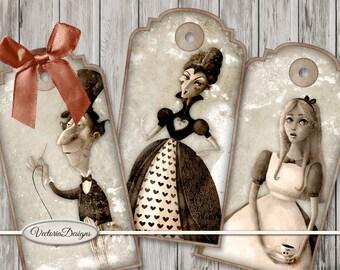 Alice in Wonderland Old Photo Tags Printable back crafting scrapbooking digital download instant download digital sheet S3I1 - VDTAAL1630