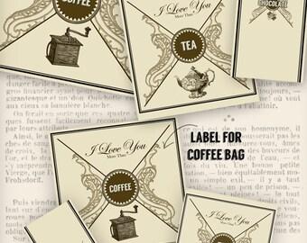 Valentine Kit, Valentine Chocolate Wrapper, Tea Lover Gift, Digital Collage, Papercraft, Coffee Label, Valentine's Day Gift 001039