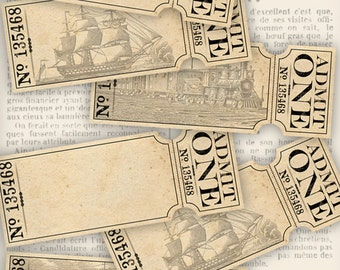 Admin One Tickets, Train Tickets, Printable Tickets, Vintage Tickets, Boat Tickets, Blank Tickets, Ephemera Scrapbook, Collage Sheet 000594