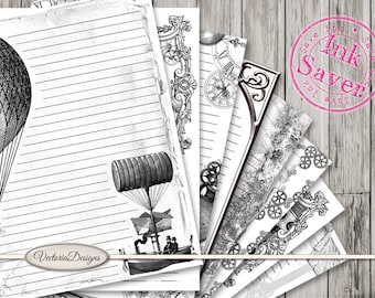 Steampunk Notebook Papers Printable Ink Saver Black White 8.5 x 11 inch letter writing stationery journal pages crafting - VDPAST1639