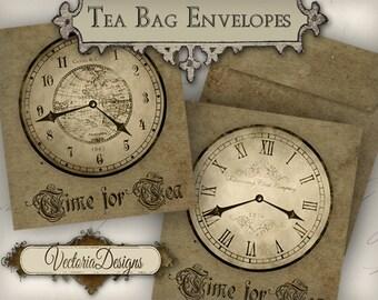 Time for Tea Tea Bag Holder grunge envelope printable hobby crafting digital graphics instant download digital collage sheet - VD0556