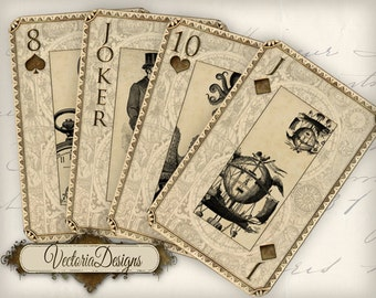 Playing Cards Steampunk, Cards Deck, Steampunk Decor, Digital Cards, Vintage Playing Cards, Printable Playing Cards, Digital Collage 000448