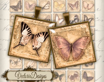 Butterfly Images 1 inch square inchies instant download printable digital collage sheet - VD0141