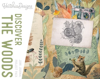 Discover The Woods Large Junk Journal Kit With Video Tutorial, Junk Journal Supplies, Junk Journal Ephemera, Junk Journal Printables, 002134
