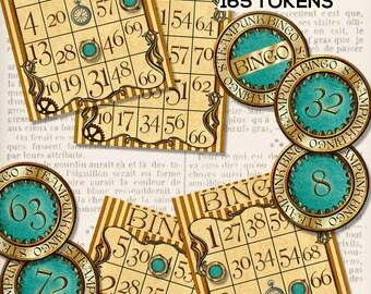 Steampunk Bingo Set Printable Bingo Game Bingo Cards Numbers digital download instant download digital collage sheet - VDGAST1301
