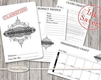Private Investigator Detective Case File ink saver printable paper crafting fingerprints profile clues instant download digital - VDMIRE1649