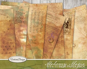 Alchemy Magic Paper Pack, Printable Paper Pack, Decorative Paper, Alchemy Scrapbooking, Digital Collage Sheets, Printable Stationery 002024
