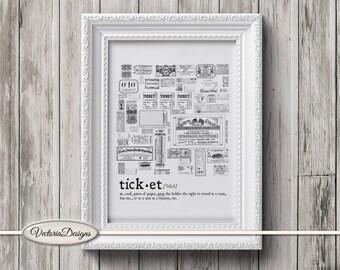 Ticket print printable art black and white print dictionary digital print printable instant download digital collage sheet - VD0666