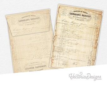 Ephemera Vintage Envelopes, Printable Stationery, Shabby Decoration, Digital Ephemera, Printable Ephemera, Digital Envelopes 000812