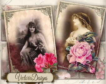 Gypsy Women Cards, Earring Cards, Gypsy Cards, ATC Images, Vintage Cards, Gypsy Digital, Gypsy Decoration, Printable Collage Sheets 000077