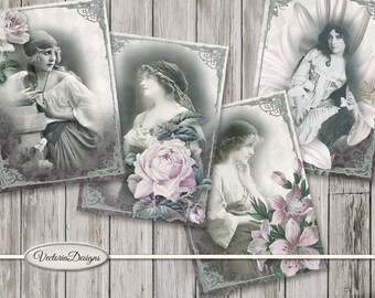 Vintage Gypsies ATC card 2.5 x 3.5 inch paper crafting scrapbooking digital download instant download collage sheet - VDATVI1655