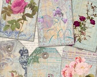 Flowers Ephemera Tags printable gift tags digital instant download Collage Sheet VDTAVI0869