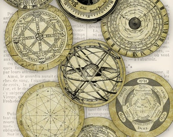 Ancient Science and Alchemy Circles 2.5 inch printable paper crafting instant download digital collage sheet - VDCIVI1207