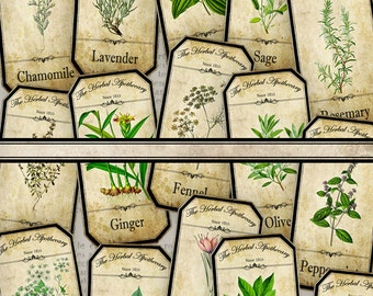 Herbal Apothecary Labels, Apothecary Bottle Labels, Spice Jar Labels, Herbal Labels, Digital Images, Apothecary Graphics, Potion 000519