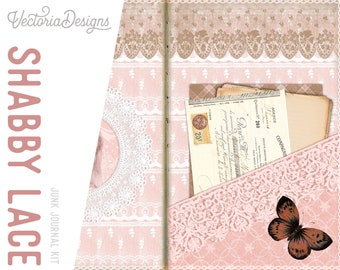 Shabby Lace Junk Journal Kit, Journal Pages, DIY Kit, Printable Journal Pages, Digital Journal Kit, Scrapbook Kit, Embellishments 002043