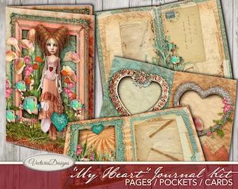 My Heart Journal Kit, Valentines Day Junk Journal Kit, Printable Junk Journal Kit, Valentines Day Gift, Valentines Decoration 001922