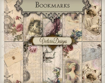 Printable Bookmarks, Shabby Elegant Materials, Digital Bookmarks Download, Shabby Elegant Sheets, Scrapbook Shabby Paper, Instant 000263
