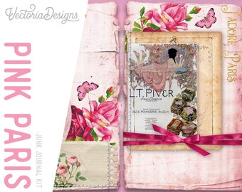 Pink Paris Junk Journal Kit, Printable Journal Kit, Digital Journal Kit, Paper Journal Kit, Eiffel Tower Decor, Paris Digital Kits 001987