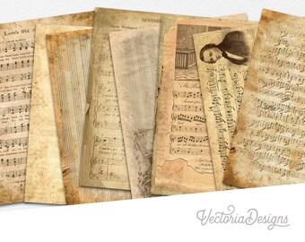 Shabby Sheet Music Paper Pack, Music Studio Decor, Shabby Paper Pack, Decorative Paper, Digital Paper Decor, Notes Decor, Music Sheet 002137
