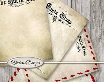 Santa Claus Letter Paper, Writing Letter Printable, Christmas Stationery, Santa Gift, Christmas Digital Paper, Vintage Christmas VDSTCM1484