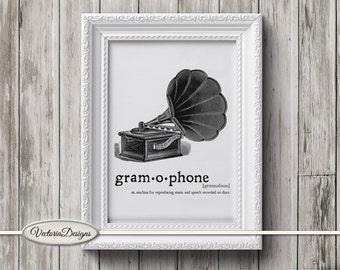 Gramophone print printable art black and white print dictionary digital print printable instant download digital collage sheet - VD0637