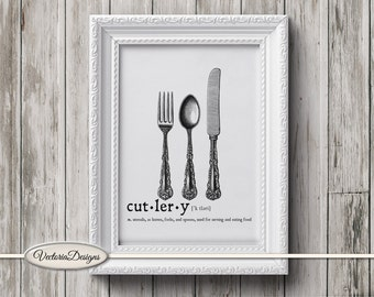Cutlery print printable art black and white print dictionary digital print printable instant download digital collage sheet - VD0661