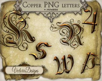 Copper Alphabet Metal Alphabet png digital scrapbook instant download printable images digital collage sheet - VDMIST0257