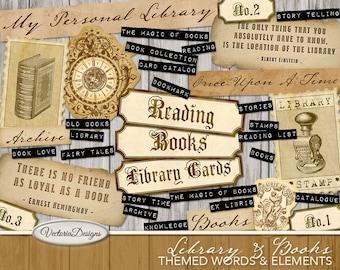 Library Scrapbooking, Printable Junk Journal, Ephemera Digital, Library Decoration, Journal Words, Embellishments, Library Gift 001768