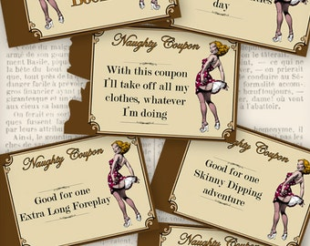 Mens Gift, Naughty Coupons, Printable Valentine, Sexy Coupons, Valentines Day Coupons, Valentines Cards, Love Coupons, Gift  VDCOVI0137