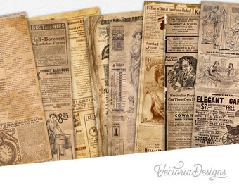 Ads Everywhere Paper Pack, Printable Paper Pack, Digital Paper, Retro Paper Pack, Decorative Paper, Old Paper Pack, Steampunk Paper 002248