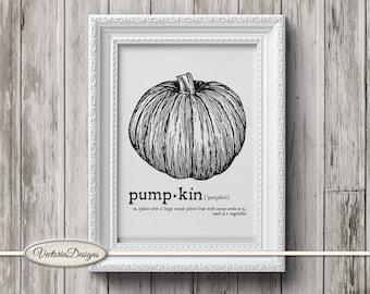 Pumpkin print printable art black and white print dictionary digital print iron on printable instant download digital collage sheet - VD0629