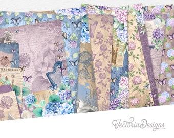 Heavenly Hydrangeas Paper Pack, Floral Paper Pack, Printable Paper Pack, Ephemera Digital Paper, Dried Flowers Paper Pack, Home  002179