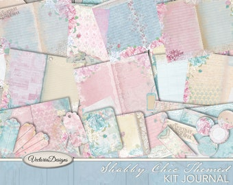 Shabby Elegant Journal Kit, Printable Journal Kit, Digital Junk Journal, Stationery Download, Scrapbooking Digital, Collage Sheets 001949