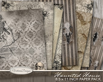 Haunted House Paper Pack, Halloween Paper, Skull Wallpaper, Halloween Digital Paper, Scrapbooking, Halloween Journal,Wicca Decoration 001770