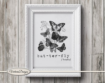 Butterfly print printable art black and white print dictionary digital print printable instant download digital collage sheet - VD0297
