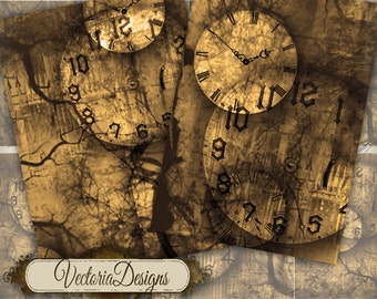 Time Doesn't Exist Gothic Clock ATC images digital background instant download printable collage sheet VD0181