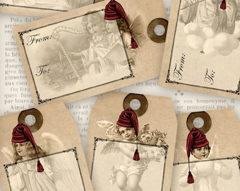 Angels Christmas Tags - printable / add your own text - VD0598