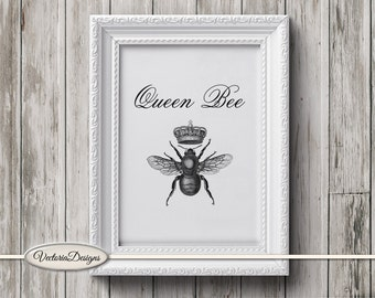 Queen Bee print printable art black and white print dictionary digital print printable instant download digital collage sheet - VDTRVI0885