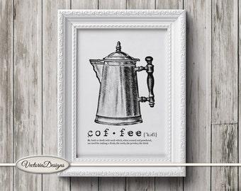 Coffee print printable art black and white print dictionary digital print printable instant download digital collage sheet - VD0616